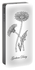 Gerbera Daisy Flower Botanical Drawing  Portable Battery Charger