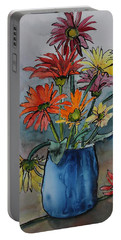 Gerberas In A Blue Pot Portable Battery Charger