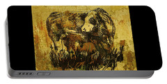 Portable Battery Charger featuring the drawing German Fleckvieh Bull 21 by Larry Campbell