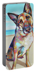 German Shepard On The Beach Portable Battery Charger