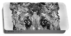 Portable Battery Charger featuring the painting German Shepherd Black And White By Sharon Cummings by Sharon Cummings