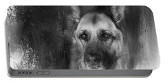 German Shepherd In Black And White Portable Battery Charger