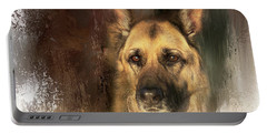 German Shepherd Portrait Color Portable Battery Charger