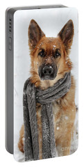 German Shepherd Wearing Scarf In Snow Portable Battery Charger