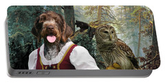 German Wirehaired Pointer Art Canvas Print - Lady Owl And Little Bears Portable Battery Charger