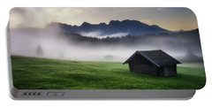 Geroldsee Forest With Beautiful Foggy Sunrise Over Mountain Peaks, Bavarian Alps, Bavaria, Germany. Portable Battery Charger