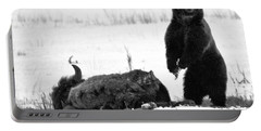 Getting Ready For Dinner - Yellowstone Grizzly 2018 Crop Black And White Portable Battery Charger