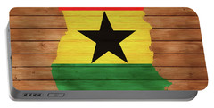 Ghana Rustic Map On Wood Portable Battery Charger