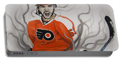 Portable Battery Charger featuring the painting Ghost Bear by Kevin F Heuman
