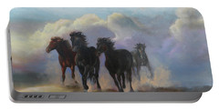 Ghost Horses Portable Battery Charger by Karen Kennedy Chatham