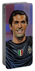 Gianluigi Buffon Painting Portable Battery Charger by Paul Meijering
