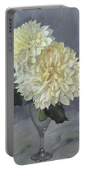 Giant White Dahlias In Wine Glass Portable Battery Charger