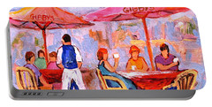 Portable Battery Charger featuring the painting Gibbys Cafe by Carole Spandau
