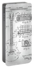 Portable Battery Charger featuring the digital art Gibson Les Paul Electric Guitar Patent by Taylan Apukovska