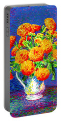 Gift Of Gold, Orange Flowers Portable Battery Charger by Jane Small