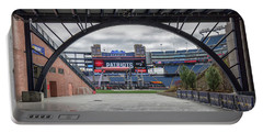 Gillette Stadium And The Four Super Bowl Banners Portable Battery Charger