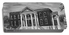 Gilmer County Old Courthouse - Black And White Portable Battery Charger by Jan Dappen