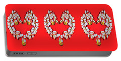 Portable Battery Charger featuring the painting Ginger Flower Hearts by Debbie Chamberlin