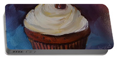 Portable Battery Charger featuring the painting Gingerbread Cupcake by Judy Fischer Walton