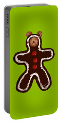Portable Battery Charger featuring the painting Gingerbread Teddy by Jean Pacheco Ravinski