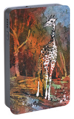 Portable Battery Charger featuring the painting Giraffe Batik II by Ryan Fox