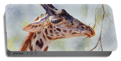 Portable Battery Charger featuring the painting Giraffe by Bonnie Rinier