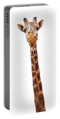 Giraffe Closeup Isolated - Happy Expression Portable Battery Charger by Susan Schmitz