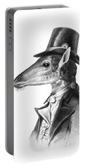 Giraffe In A Smoking Jacket With Top Hat Portable Battery Charger