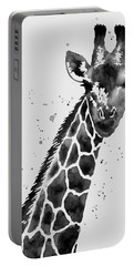 Giraffe In Black And White Portable Battery Charger by Hailey E Herrera