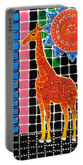 Portable Battery Charger featuring the painting Giraffe In The Bathroom - Art By Dora Hathazi Mendes by Dora Hathazi Mendes