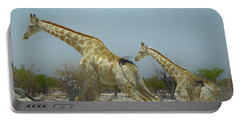 Giraffe Run Portable Battery Charger by Ernie Echols