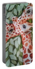 Portable Battery Charger featuring the painting Giraffe Trio By Christine Lites by Allen Sheffield