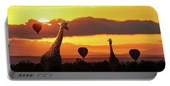Giraffe Walking Into Sunrise In Africa Portable Battery Charger