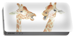 Portable Battery Charger featuring the painting Giraffe Watercolor by Taylan Apukovska