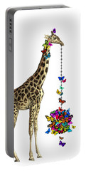 Giraffe With Colorful Rainbow Butterflies Portable Battery Charger
