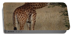 Giraffes Eating - Side View Portable Battery Charger