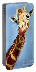 Portable Battery Charger featuring the painting Girard Giraffe by Tom Riggs