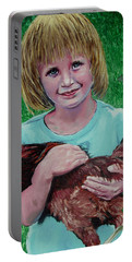 Girl And Chicken Portable Battery Charger