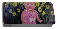 Girl And Daisies Portable Battery Charger