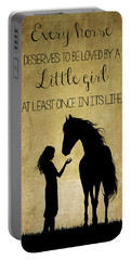 Girl And Horse Silhouette Portable Battery Charger