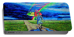 Portable Battery Charger featuring the painting Girl And Puddle by Viktor Lazarev