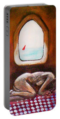 Portable Battery Charger featuring the painting Girl At The Beach by Winsome Gunning