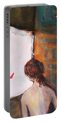 Portable Battery Charger featuring the painting Girl At The Window by Winsome Gunning