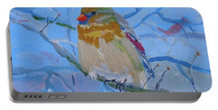 Portable Battery Charger featuring the painting Girl Cardinal by Francine Frank