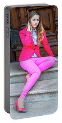 Girl Dressing In Pink Portable Battery Charger