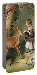 Girl Feeding A Deer Portable Battery Charger