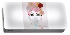Girl Flower Power Portable Battery Charger by Gallery Messina
