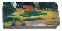 Girl Herding Pigs Portable Battery Charger by Paul Gauguin