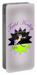Girl Hockey Field Player In A Design With Text Portable Battery Charger