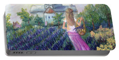 Girl In A Lavender Field  Portable Battery Charger